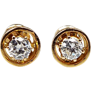 Vintage Art Deco 18ct Yellow Gold Diamond Target 0.44ct 3.8mm Solitaire Stud Screw Earrings