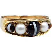 Antique Victorian 9ct Gold Banded Agate & White Pearl Wide Band Ring Size K 1/2