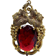 Antique Art Nouveau Gold Gilt Foliate Grape Vine Red Glass Pendant Necklace