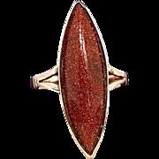 Antique Victorian Edwardian Striking Long Navette Goldstone Ring / Size O 1/2