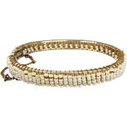 Vintage Art Nouveau Style Gold Metal and Seed Pearl White Bead Bangle Bracelet