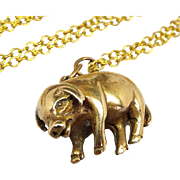 Antique Victorian Detailed Bronze / Brass Realistic Pig Charm Pendant Necklace