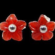 Vintage Sterling Silver Tiny Carved Carnelian Flower Sleeper Stud Earrings 925