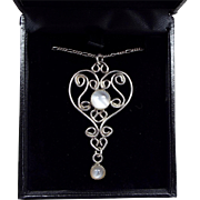 Vintage Sterling Silver Ornate Heart Cat's Eye Moonstone Pendant Necklace