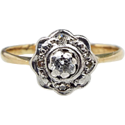 Antique Edwardian 18ct Yellow Gold Platinum 5 Diamond Cluster Ring / Size M