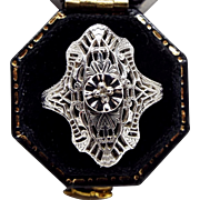 Antique / Edwardian Art Deco 14ct White Gold Diamond Flower Filigree Ring Size N