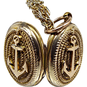 Antique Victorian 9ct Gold Nautical Ship's Anchor Oval Locket Pendant Necklace