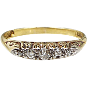 Antique Edwardian 18ct Yellow Gold Ornate 5 Stone Old Diamond Ring / Size N 1/2