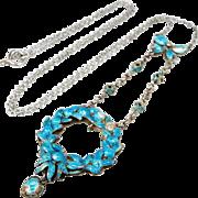Antique Art Nouveau Sterling Silver Blue Enamel Flower & Bow Lavalier Necklace