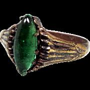 Antique Ancient Medieval Tudor Gold Bronze Medieval Green Glass Ring / Size K