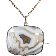 Antique / Victorian 9ct Gold Beige White Banded Agate Pendant Necklace Brooch