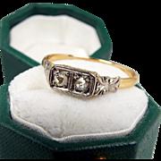 Antique Edwardian 18ct Gold Toi et Moi Double Rose Cut Diamond Ring / Size N 1/2