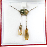 Antique Arts and Crafts Sterling Silver Moss Agate Negligee Lavalier Necklace