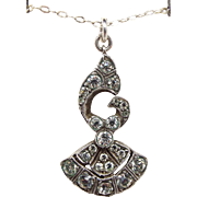 Antique Edwardian Belle Epoque Sterling Silver Dainty Paste Bow Pendant Necklace