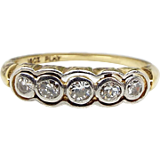 Antique 1920's Art Deco 18ct Platinum Yellow Gold 5 Diamond Target Ring / Size N 1/2