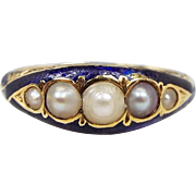 Antique Georgian 18ct Gold Engraved Royal Blue Enamel 5 Pearl Band Ring / Size O 1/2