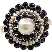 Antique Georgian Sterling Silver 9ct Gold Natural Pearl & Sapphire Cluster Ring / Size M 1/2