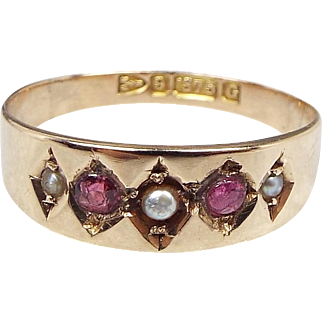 Antique Chester 1890 Victorian 9ct Gold Ruby and Natural Seed Pearl Band Ring / Size N 1/2