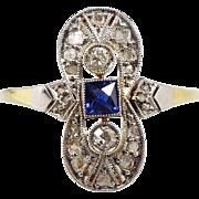Antique Edwardian Sapphire + Diamond Belle Époque Ring 18ct Gold Platinum / Size O