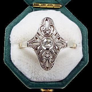 Antique Edwardian Art Deco 14ct White Gold Stunning Diamond Filigree Ring Size M