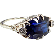 Antique Edwardian Art Deco Platinum Ornate Sapphire and Diamond Ring Size K 1/2