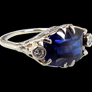 Antique Edwardian Art Deco Platinum Ornate Sapphire and Diamond Ring Size K 1/2