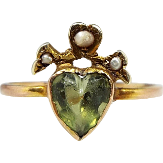 Boxed Antique Victorian 15ct Gold Sacred Pearl Crowned Heart Peridot Ring Size K