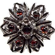 Antique Georgian 15ct Gold & Sterling Silver Statement Garnet Flower Ring Size K 1/2