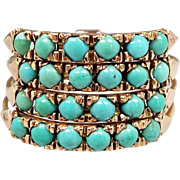 Antique Victorian 14ct Gold Harem Multi-Band Stacking Turquoise Ring / Size S