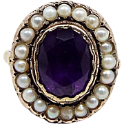 Georgian Victorian 9ct Gold Foiled Amethyst and Cultured Pearl Cluster Ring / Size O