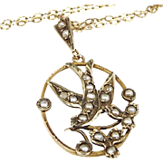 Antique Victorian 9ct Yellow Gold Dainty White Natural Seed Pearl Bird Pendant Necklace
