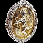 Vintage Gold Sterling Silver Kenart Huge Statement Cupid Cherub Angel Brooch Pin