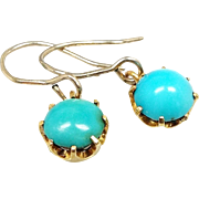 Antique / Victorian 9ct Yellow Gold Turquoise Pair Hook Drop Dangle Earrings