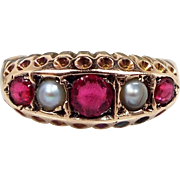 Antique Victorian Edwardian 9ct Rose Gold Pink Ruby Paste and Natural Pearl Size M 1/2