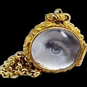 Antique / Art Nouveau Gold Gilt Chased Deep Glass Locket Pendant Necklace Chain