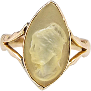Antique / Victorian 9ct Gold Carved Mother of Pearl Cameo Navette Ring / Size P