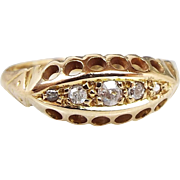 Antique Edwardian 1917 18ct Yellow Gold 5 Diamond Boat Eternity Ring / Size M 1/2