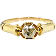 Antique Edwardian 18ct Yellow Gold Bamboo OE Diamond Solitaire Ring Size L 1/2