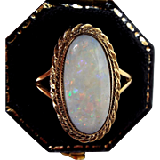 Vintage 1990 9ct Yellow Gold Genuine Glittery White Opal Solitaire Ring / Size N 1/2