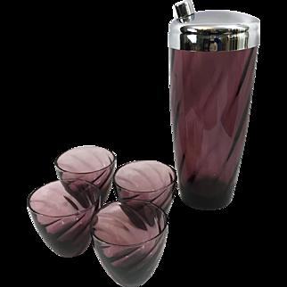 Vintage Hazel Atlas Moroccan Amethyst Purple Cocktail Shaker & 4 Glasses Set