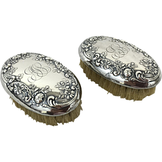 Gorham Sterling Silver Repoussé Brushes (Pair) early 1900's