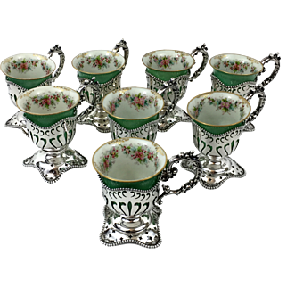 Antique Sterling Silver Demitasse Cups by Mauser Mfg with Lenox Porcelain Inserts circa 1900