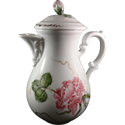 """Vintage Porcelain Hutschenreuther Coffee/ Chocolate Pot Floral Design Quote on Lid  """"All I am or hope to be I owe to My Mother"""""""