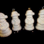 4 Goebel Bell Christmas Ornament Mrs SANTA Claus w/hand Muff White Glaze 1980
