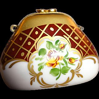Limoges Porcelain Trinket Box Purse Handbag Petit Main Hand Painted Signed