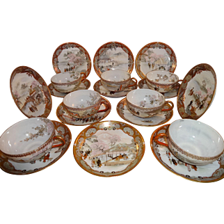 Antique Japanese Kutani Tea Cup Saucer Sets and Plates Meiji Period