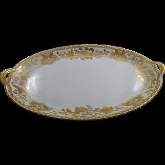 Nippon Porcelain Serving Platter Gold Details Large 14 x 9