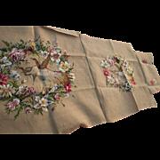 Vintage Wool Petit Point Needlepoint Set, Upholstery, Handmade