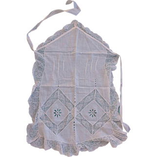 Apron with Bib, Cotton, Lace, 1910's