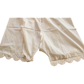 Antique Cotton bloomers, ca. 1890's, Lace Trim, Embroidered